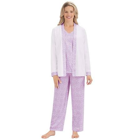 Women's 3 Piece Cozy Sleepwear Set w/ Light Floral Design - Shirt, Jacket and Pajama Pants, Medium, Lilac (Pj Jacket)