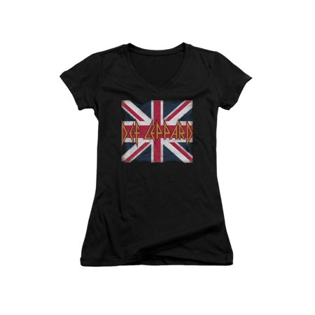 Def Leppard 80s Heavy Metal Band Union Jack Logo Junior V-Neck T-Shirt Tee - 80s Heavy Metal