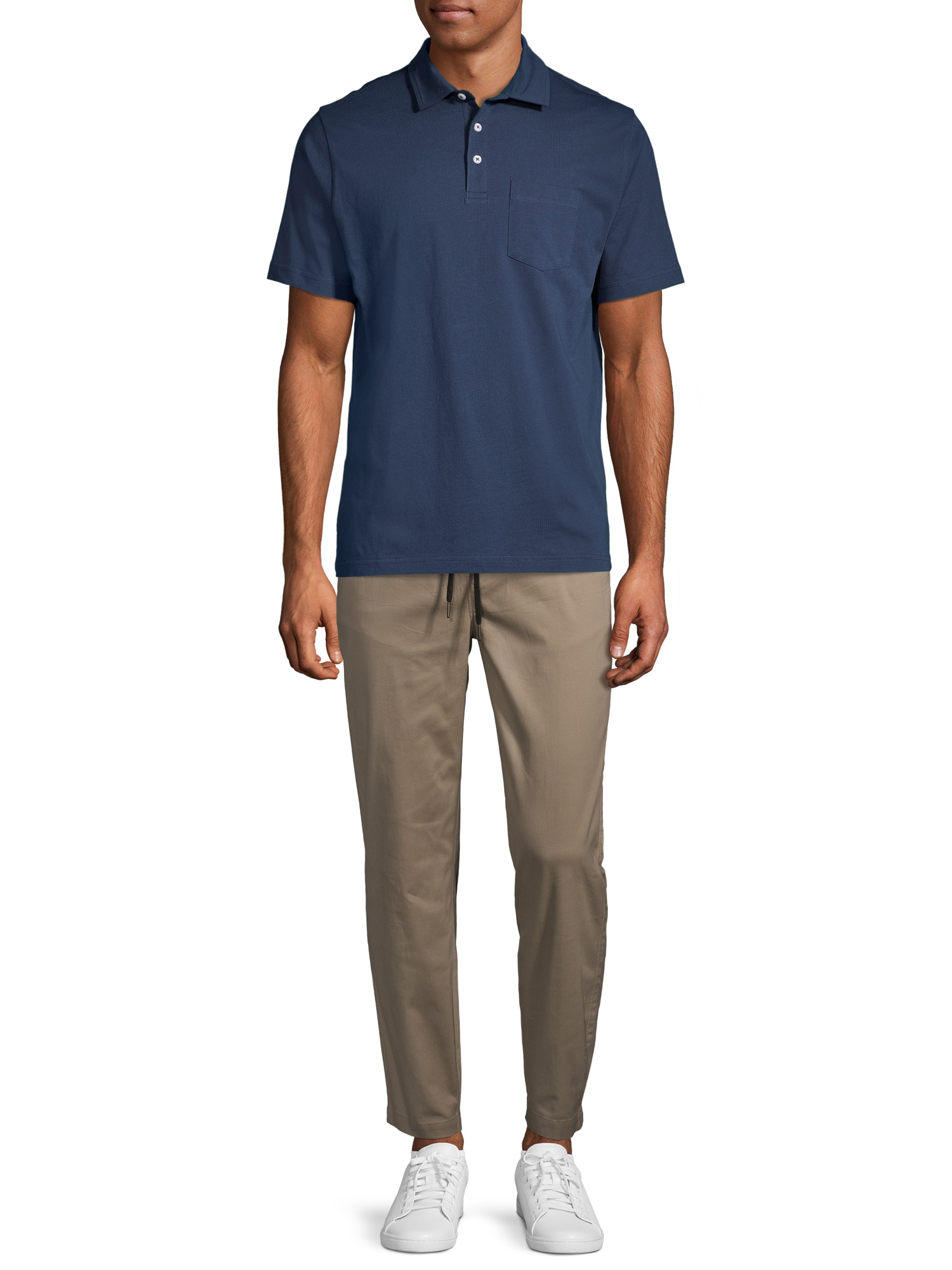 George Men/'s and Big Men/'s Solid Jersey Pocket Polo Shirt B3 Size 3XL