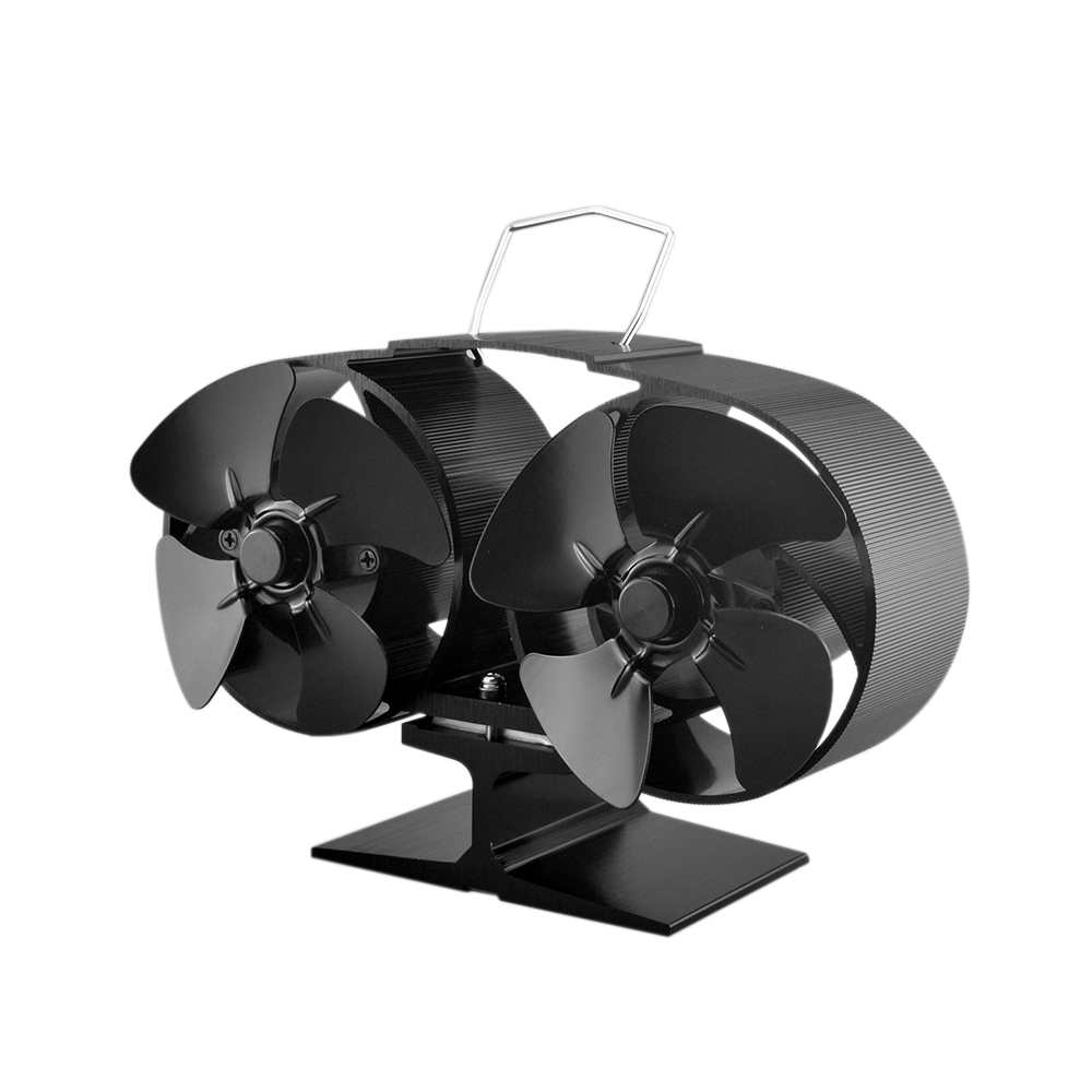 8 Blade Twin Motor Heat Powered Eco Fireplace Fan Fuel Cost Saving Aluminum Black for Wood Gas Coal Pellet Log Heaters