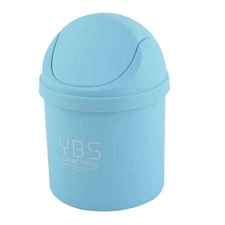 Home Plastic Desktop Decor Waste Trash Rubbish Seedcase Storage Box Can Blue