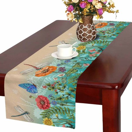 MKHERT Summer Dragonflies Butterflies Flowers Grass and Plants Table Runner Home Decor for Kitchen Dining Wedding Party 16x72 Inch - Grass Table Runner