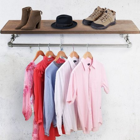 35 Industrial Pipe Clothing Rack Wooden Shelving Shoes
