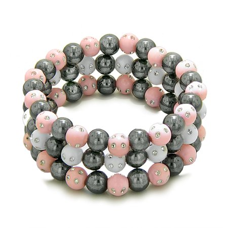 - Amulets Set of 3 Individual Simulated Hematite Magnetic Bracelets White Baby-Pink Sparkling Crystals