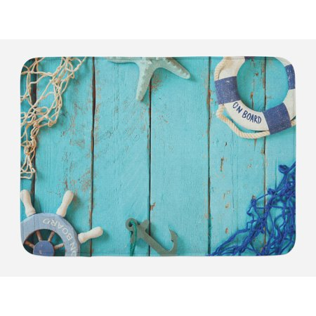Nautical Bath Mat, Nautical Lifestyle Theme Vintage Steering Wheel Stars Net Lifebuoy, Non-Slip Plush Mat Bathroom Kitchen Laundry Room Decor, 29.5 X 17.5 Inches, Turquoise Navy Blue White,