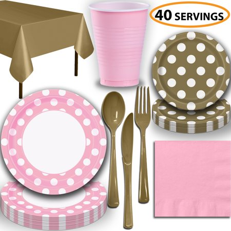 Pink And Gold Dessert Table (Disposable Tableware, 40 Sets - Lovely Pink and Gold Dots - Dinner Plates, Dessert Plates, Cups, Lunch Napkins, Cutlery, and Tablecloths:  Party Supplies)