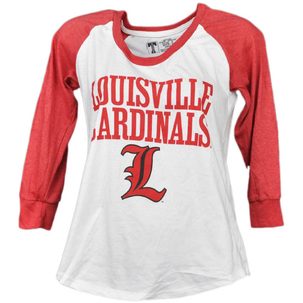 NCAA Louisville Cardinals Mid Sleeve Tshirt Tee Womens Red White Crew Neck LG