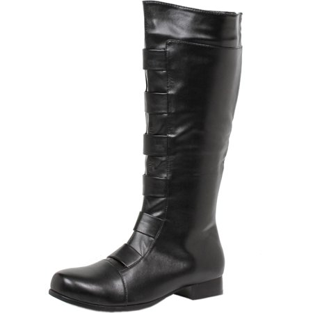 Mens Black Boots Knee High Superhero Boots Round Toe 1 Inch Heel MENS SIZING