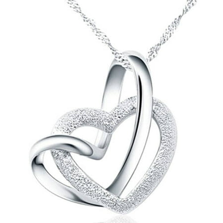 Designer Inspired Silver-Tone Intertwined Heart Necklace, 18