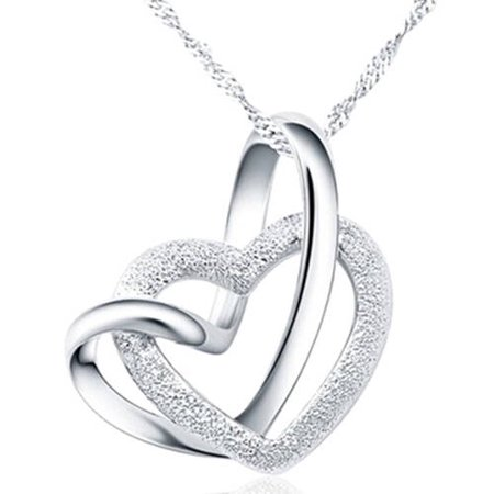 Designer Inspired Silver-Tone Intertwined Heart Necklace, (Designer Inspired Fashion)