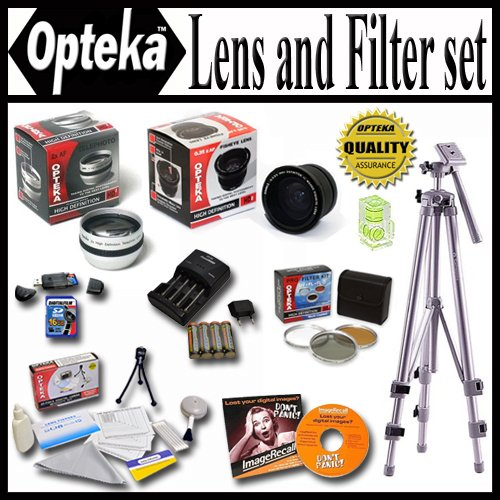 Opteka Kit for Fuji Finepix HS10 S9500 S9100 S9000 S6000 Includes 0.35x + 2.2X Lens, Filter Kit, 4 NIMH AA Batteries &... by Opteka