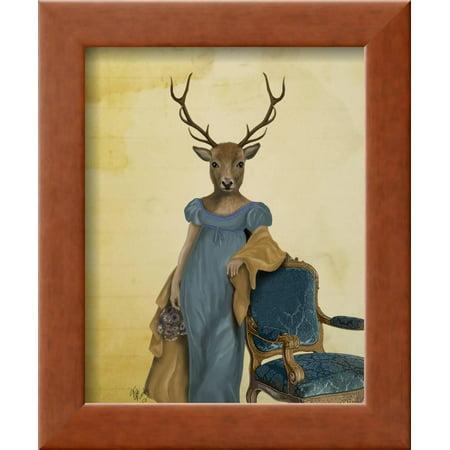 Deer in Blue Dress Framed Print Wall Art By Fab Funky - Walmart.com