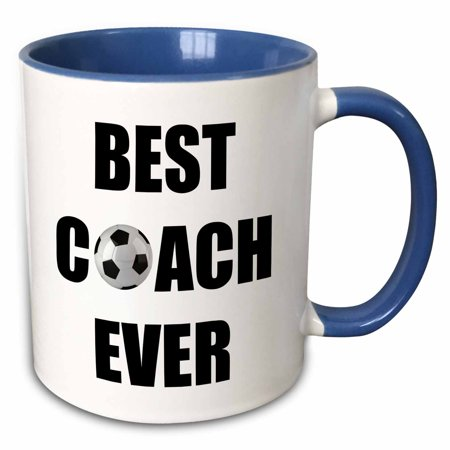 3dRose Best Soccer Coach Ever - Two Tone Blue Mug, (The Best Catch Ever)