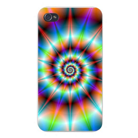 Apple Iphone Custom Case 4 4s Plastic Snap on - Psychedelic Colorful Circle Swirl (Circle Designs Snap)