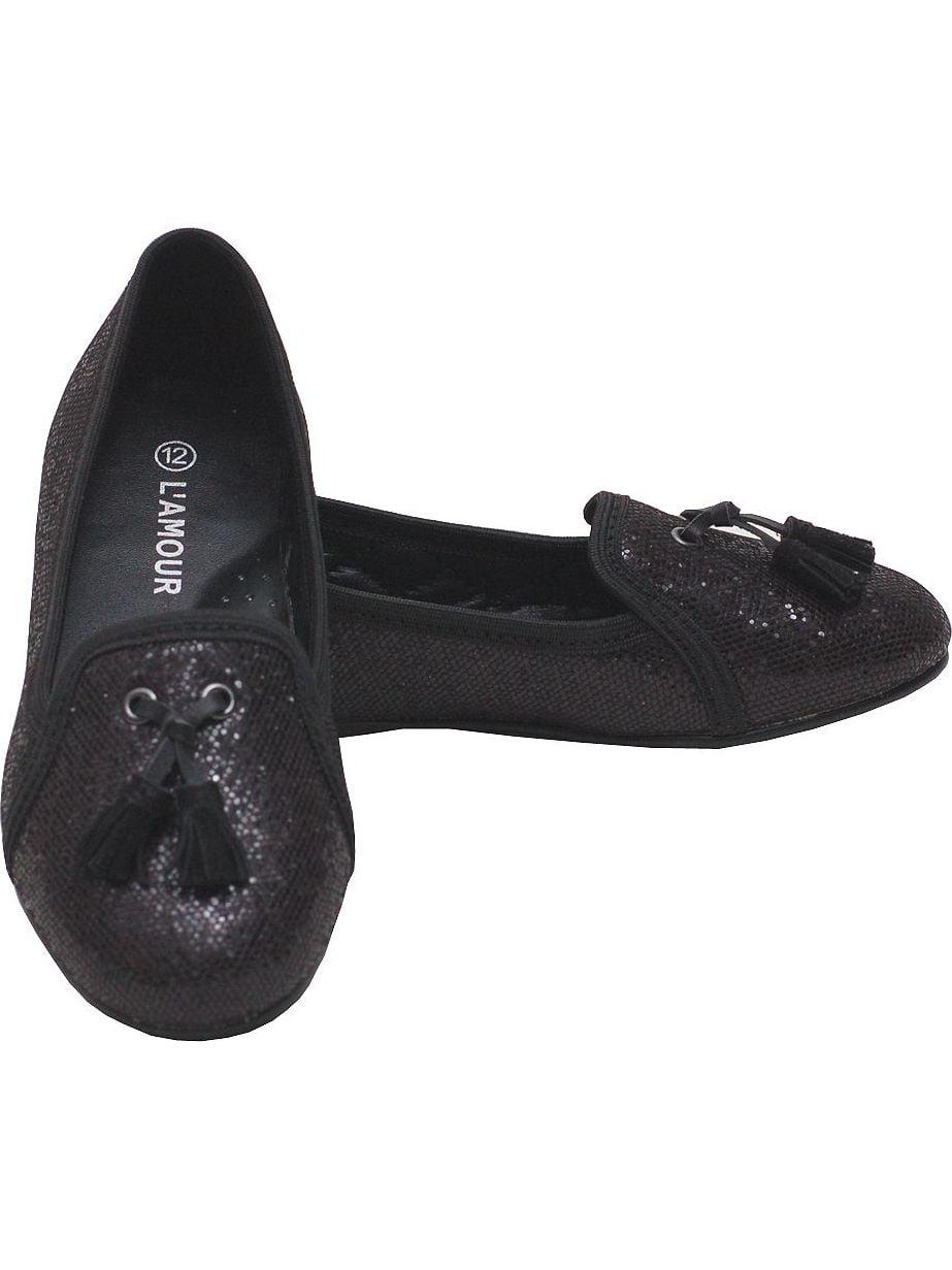 Black Sparkle Tassel Loafer Girls Dress Shoes Toddler 7-Little Girls 4