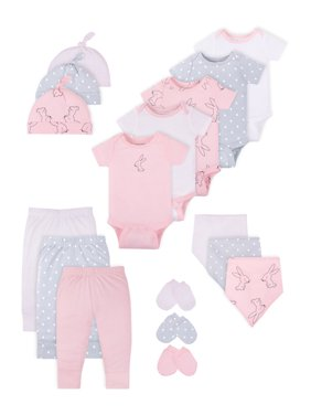 Little Star Organic Baby Girl Newborn Clothes Shower Gift Set, 17pc