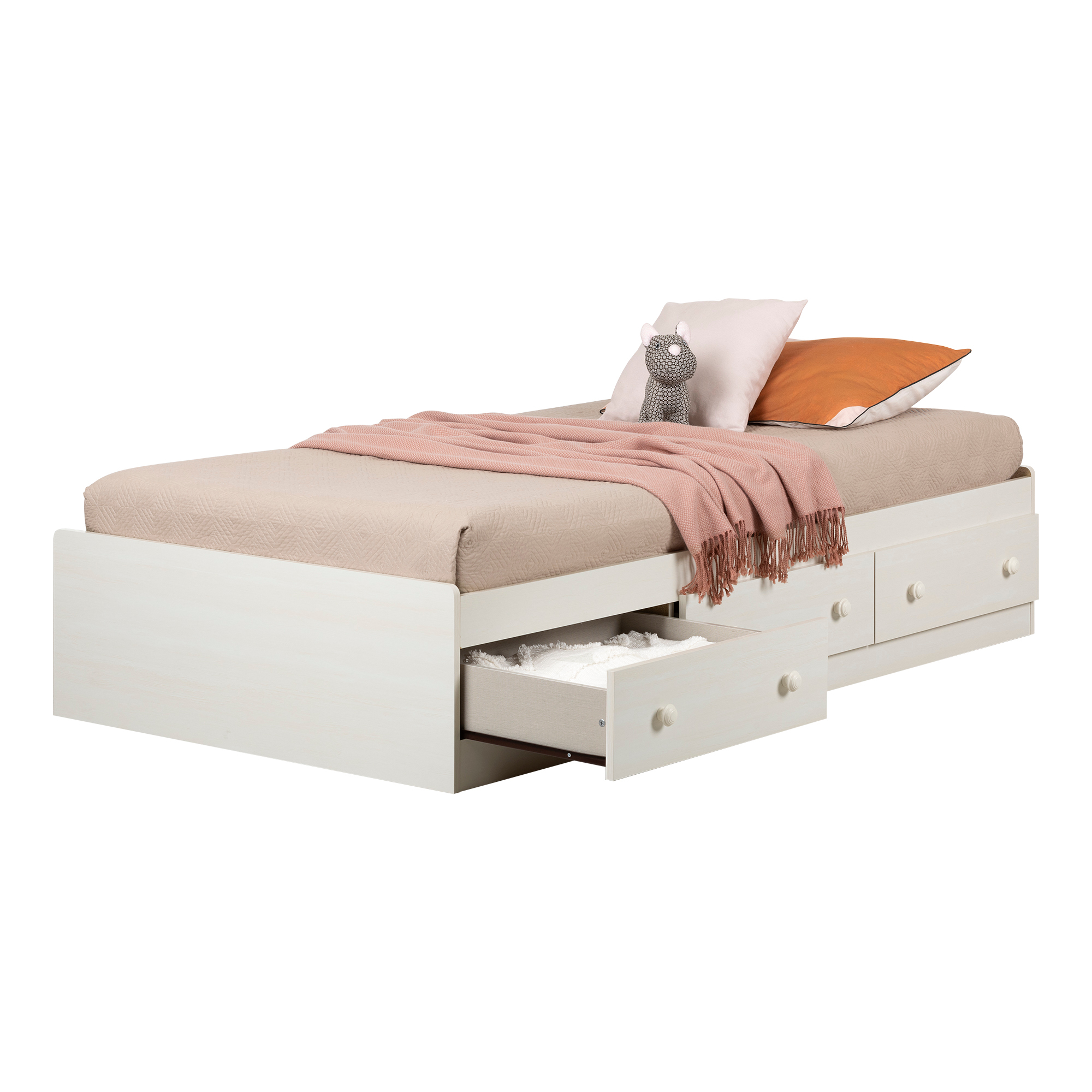 Home Garden Beds Bed Frames Twin Storage Bed With 3 Drawers 39 Inch White And Maple Bedroom Furniture New Anios Am