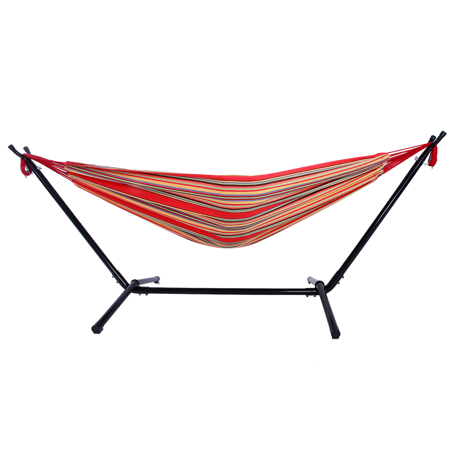 Zimtown Outdoor Swing Chair Double Hammock Steel Stand Camping Bed Includes Portable Carrying Case