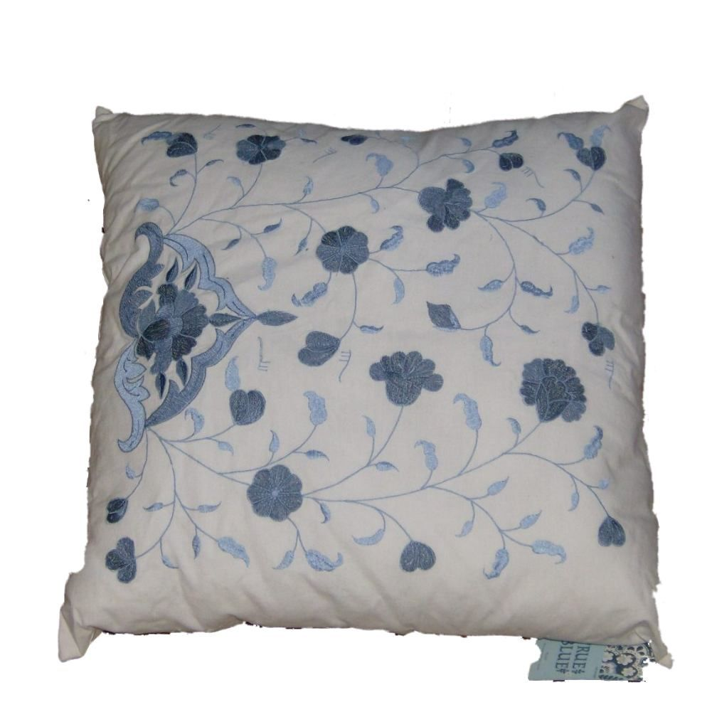 True Blue Embroidered Blue Flowers Accent Throw Pillow Floral Home Decor
