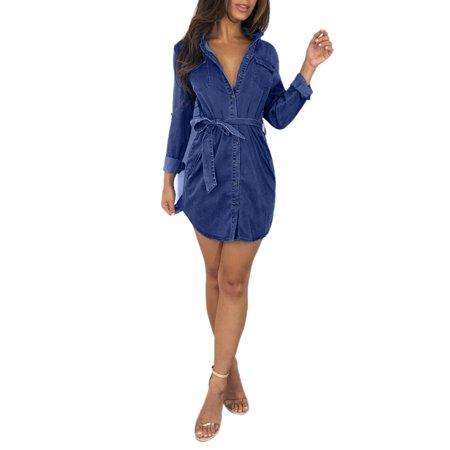 Belted Button (Women Denim Jeans Dress Button Pocket Belted Waist Long Sleeve Casual Top Shirt Mini)