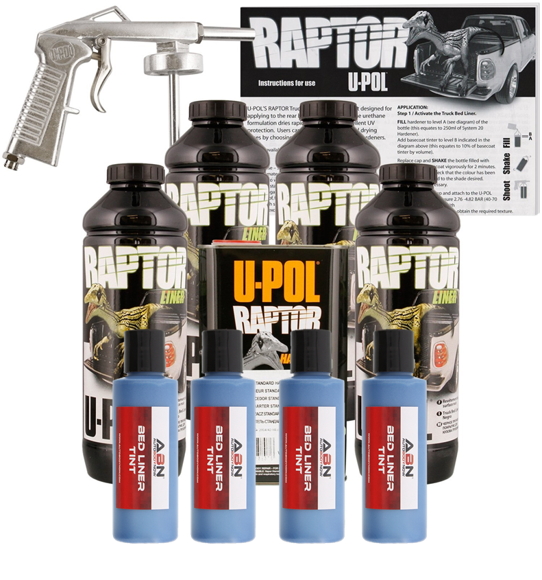U-POL Raptor Tintable Blue Metallic Bed Liner w/ Spray Gun, 4 Liters Upol