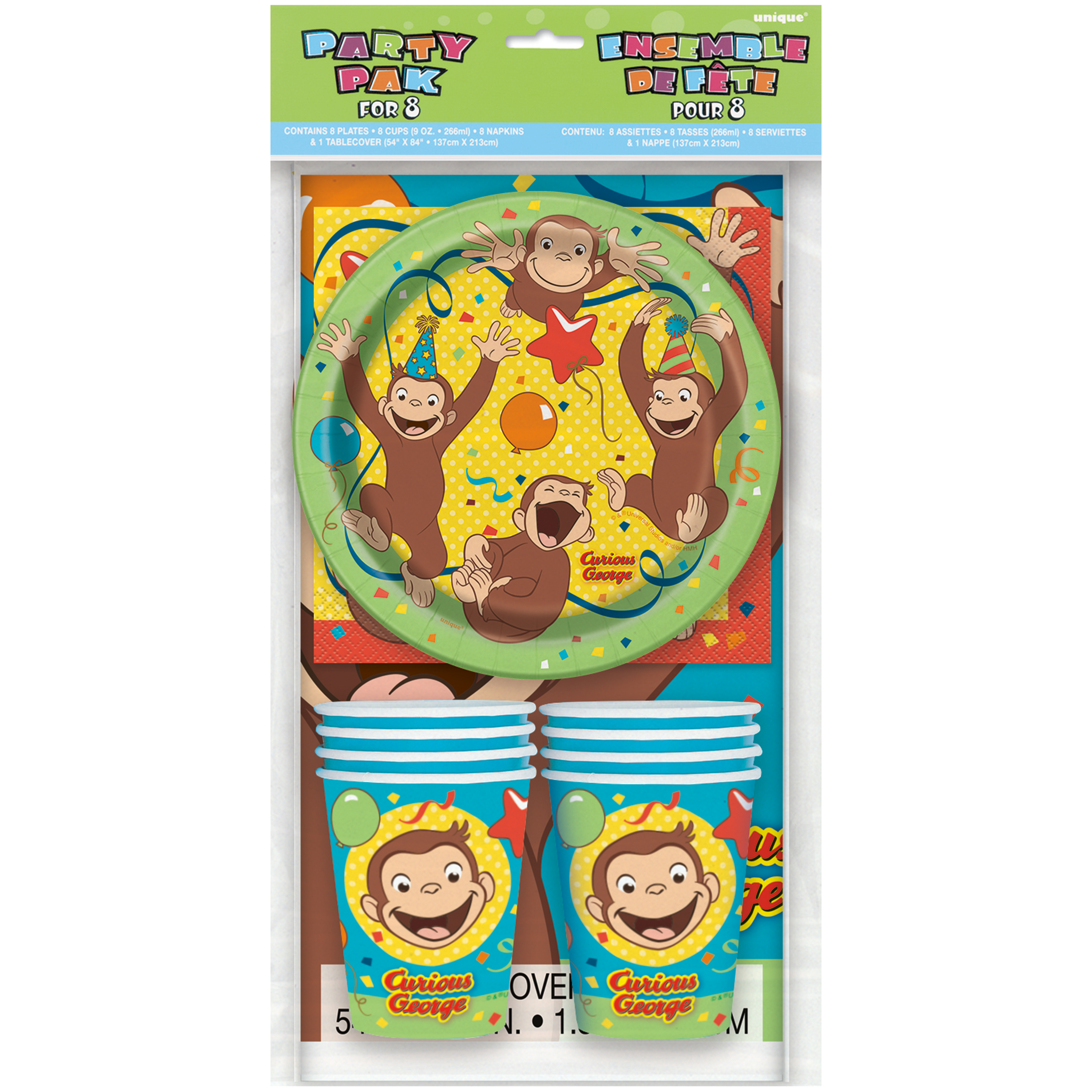 Curious George Party Tableware Kit for 8