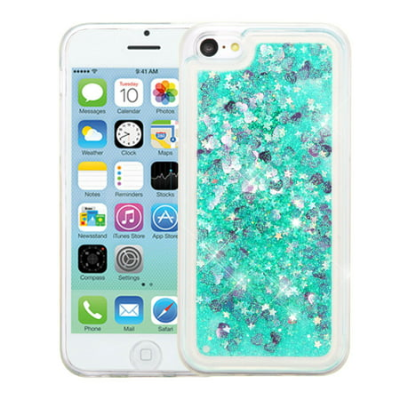 Insten Hearts Quicksand Glitter Hybrid Hard Plastic / TPU Dual Layer Case For Apple iPhone 5C - Green ()