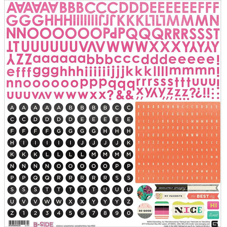 "B-Side Cardstock Stickers 12""X12""-Alphabet"