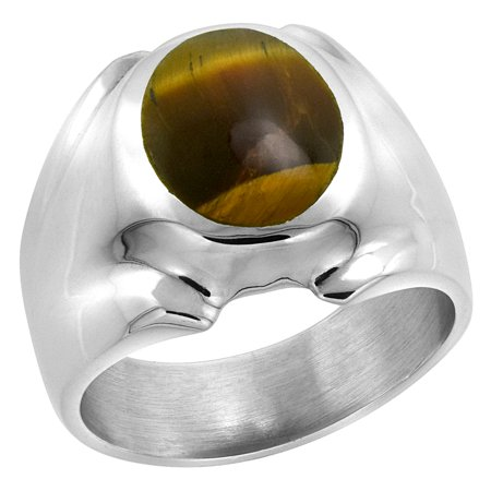 Sterling Silver Tiger Eye Ring for Men Oval Domed Solid Back Handmade, sizes 8 - 14