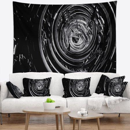 DESIGN ART Designart 'Fractal 3D Black Whirlwind' Contemporary Wall Tapestry