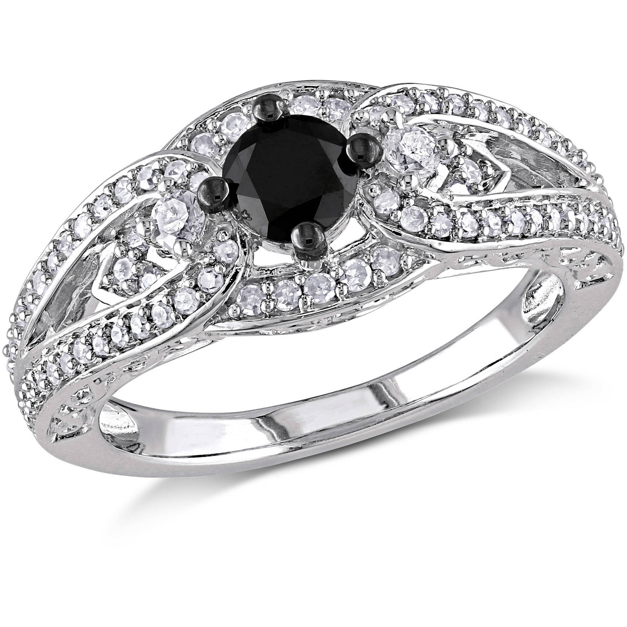 3/4 Carat T.W. Black and White Diamond Sterling Silver Engagement Ring (4.5mm)