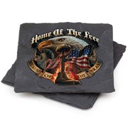 Patriotic American Heroes Natural Stone Coasters- Because Of The Brave Gift Box