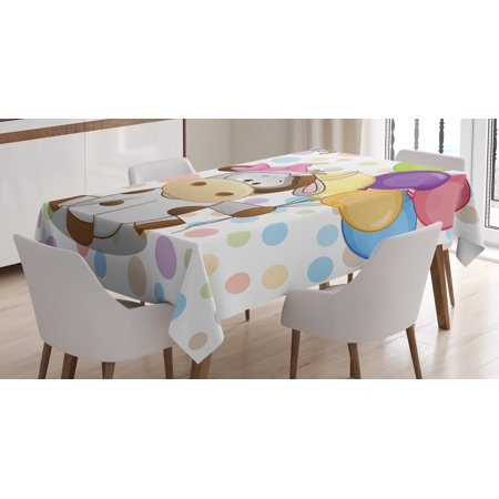 Birthday Decorations for Kids Tablecloth, Baby Cow Colorful Balloons on Abstract Polka Dot Bakcdrop, Rectangular Table Cover for Dining Room Kitchen, 60 X 84 Inches, Multicolor, by