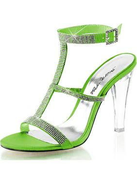 ec4ae557f Product Image Womens T Strap Shoes Rhinestone Tri Band Sandals Slingback 4  1 2 Inch Heels