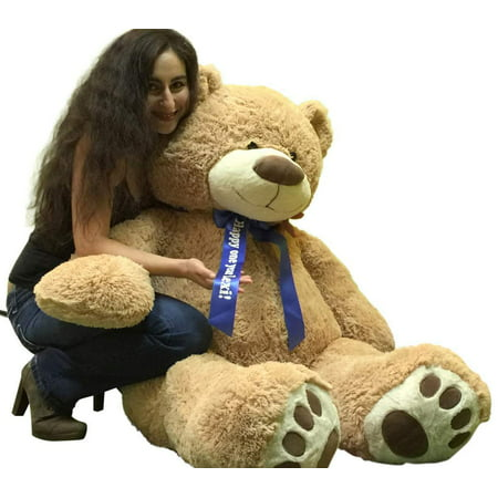 Custom Personalized Big Plush Giant Teddy Bear 5 Feet Tall - Your Name or Message Imprinted on Bear's Blue Neck Ribbon Bow - Tan Color with Bigfoot Paws Giant Stuffed Animal