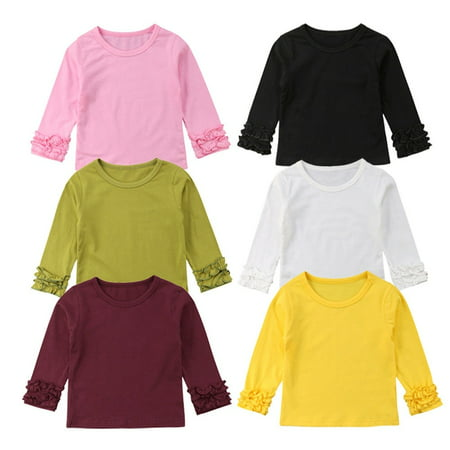 Toddler Kids Baby Girls Casual Cotton Long Sleeve Blouse T Shirt Tops Clothes