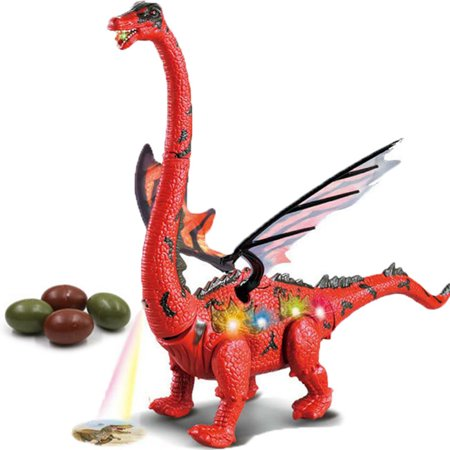 Battery Operated Walking Toy Dinosaur w/ Double Wings, Forward Movement and Sounds, Egg Laying Action (Come With 2 Eggs), Light-Up Stomach, & Projection Lights