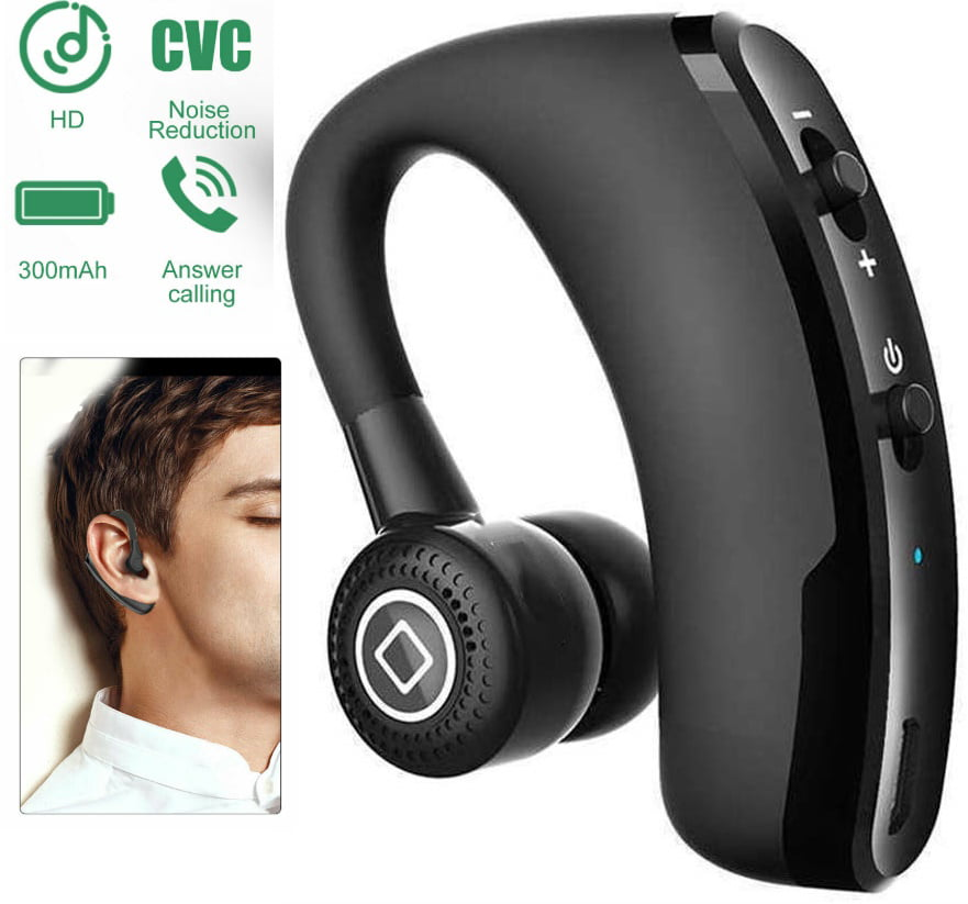 Android Cell Phones Bluetooth Headset 5.0 with Microphone Black Compatible with iPhone Wireless Bluetooth Earpiece Earbuds Earhook Headphones with Mic for Drivers Driving Office Business Talking