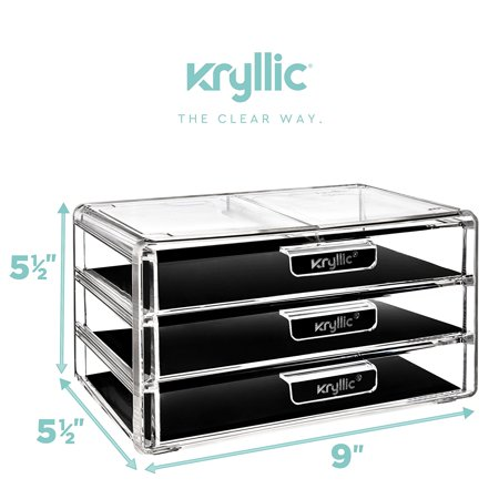 Kryllic Acrylic Makeup Jewelry Cosmetic Organizer - Clear Acrylic Display Storage for Jewelry Makeup Pallets & all Bathroom Accessories keep your Vanity & Dresser Organized with set of 3 Drawers - image 3 of 6
