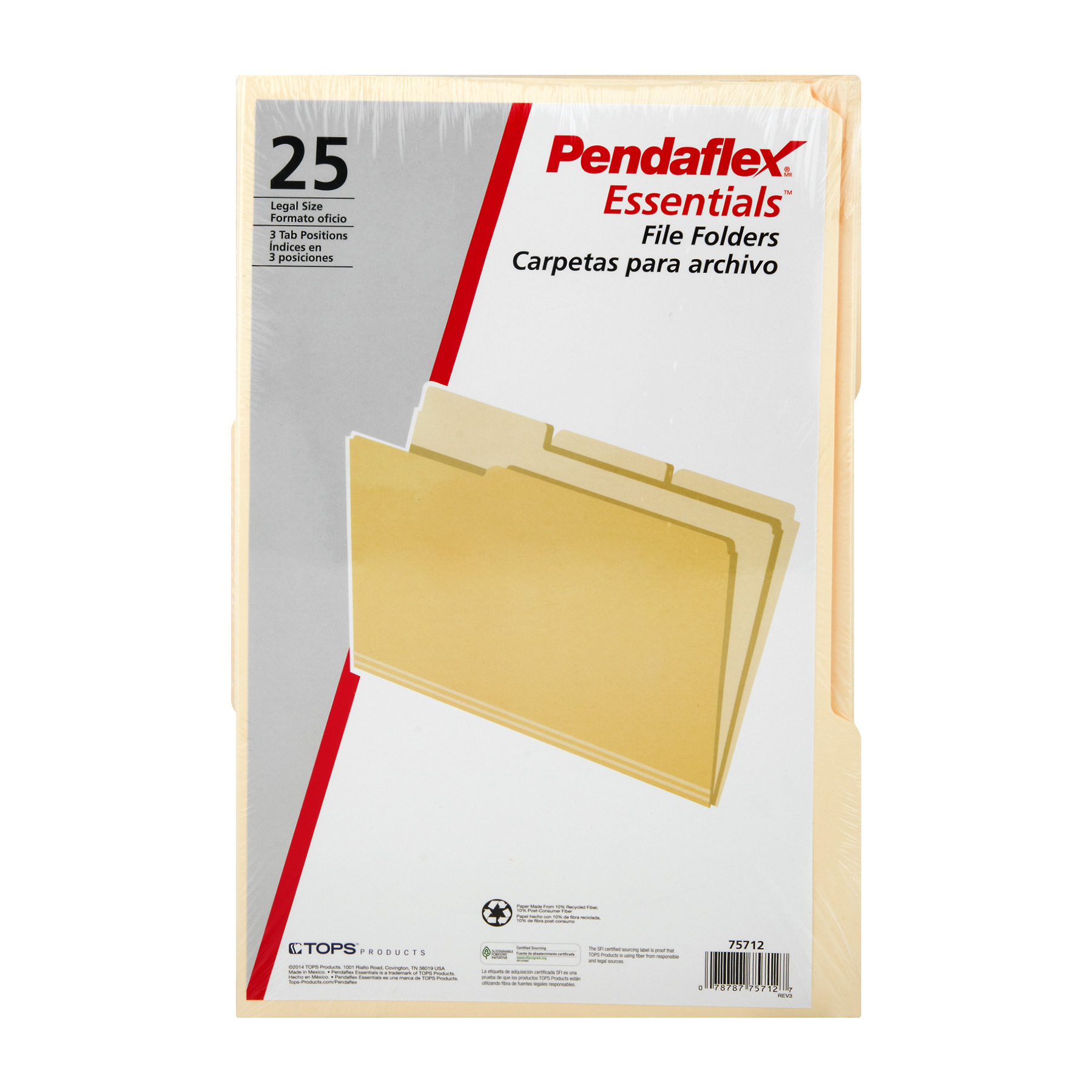 Pendaflex Essentials File Folders Legal Size 3 Tab Positions, 25.0 CT