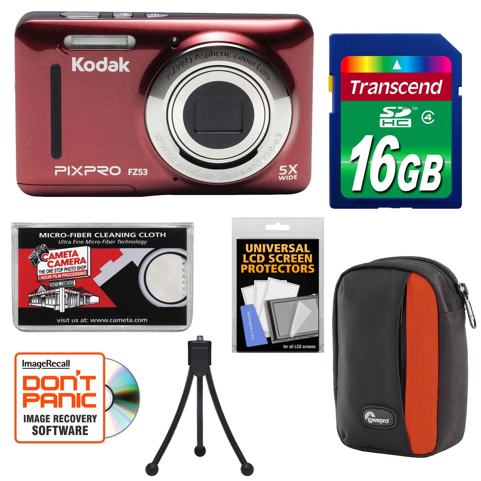 KODAK PIXPRO Friendly Zoom FZ53 Digital Camera (Black) with 16GB Card + Case + Tripod + Kit