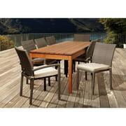 Marchello 9-Piece Eucalyptus/Wicker Rectangular Patio Dining Set w/Cushions