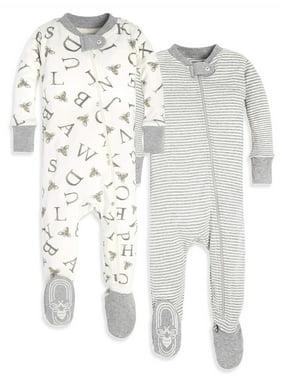 Burt's Bees Baby Organic Cotton Zip Front Footed Pajamas, 2pk (Baby Boys or Baby Girls, Unisex)