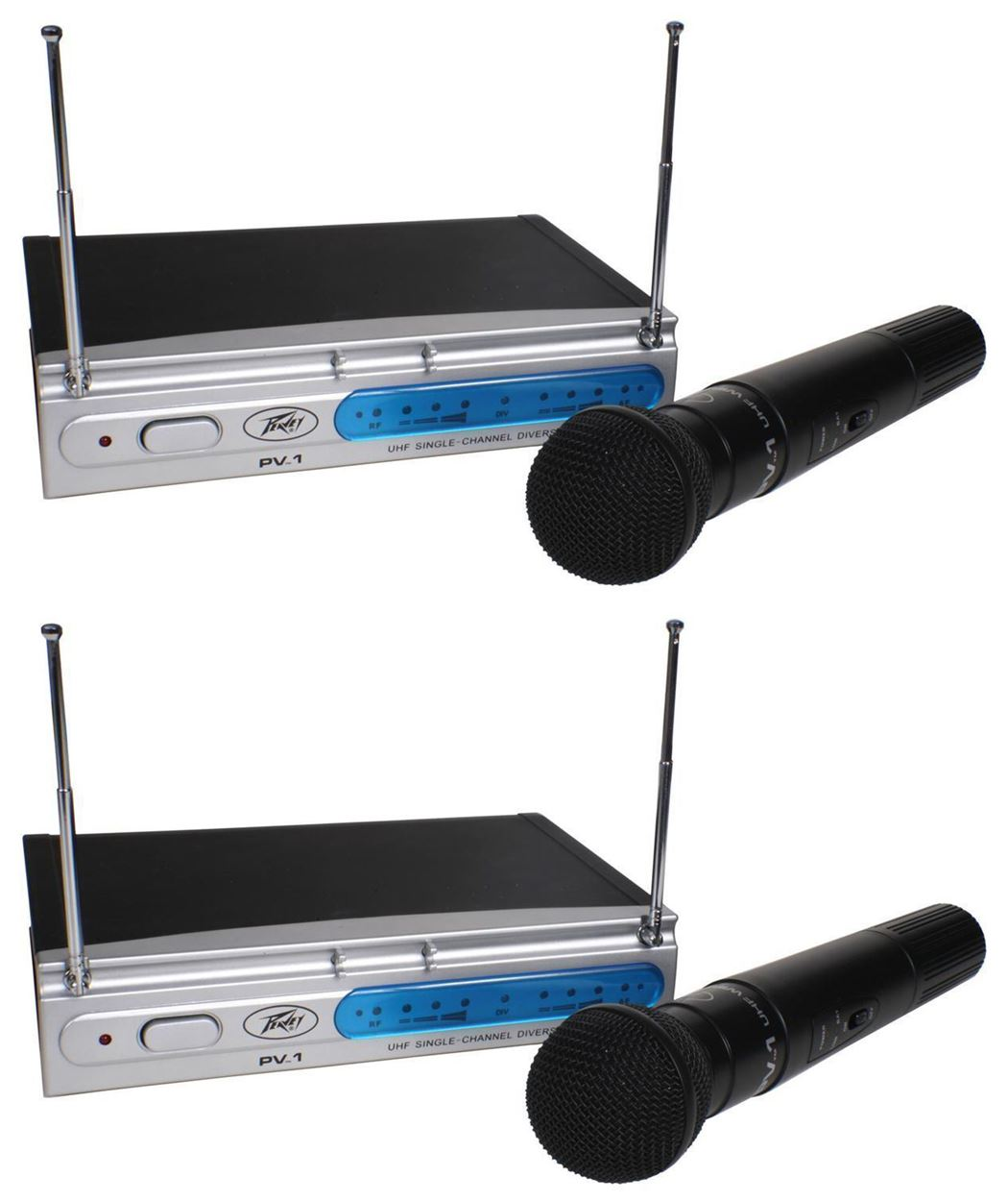 (2) Peavey PV-1 U1 HH 911.70MHZ UHF Wireless Microphones (Dual Mic System) by Peavey