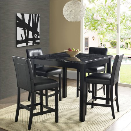 5 Piece Faux Marble Leather Counter Height Dining Set