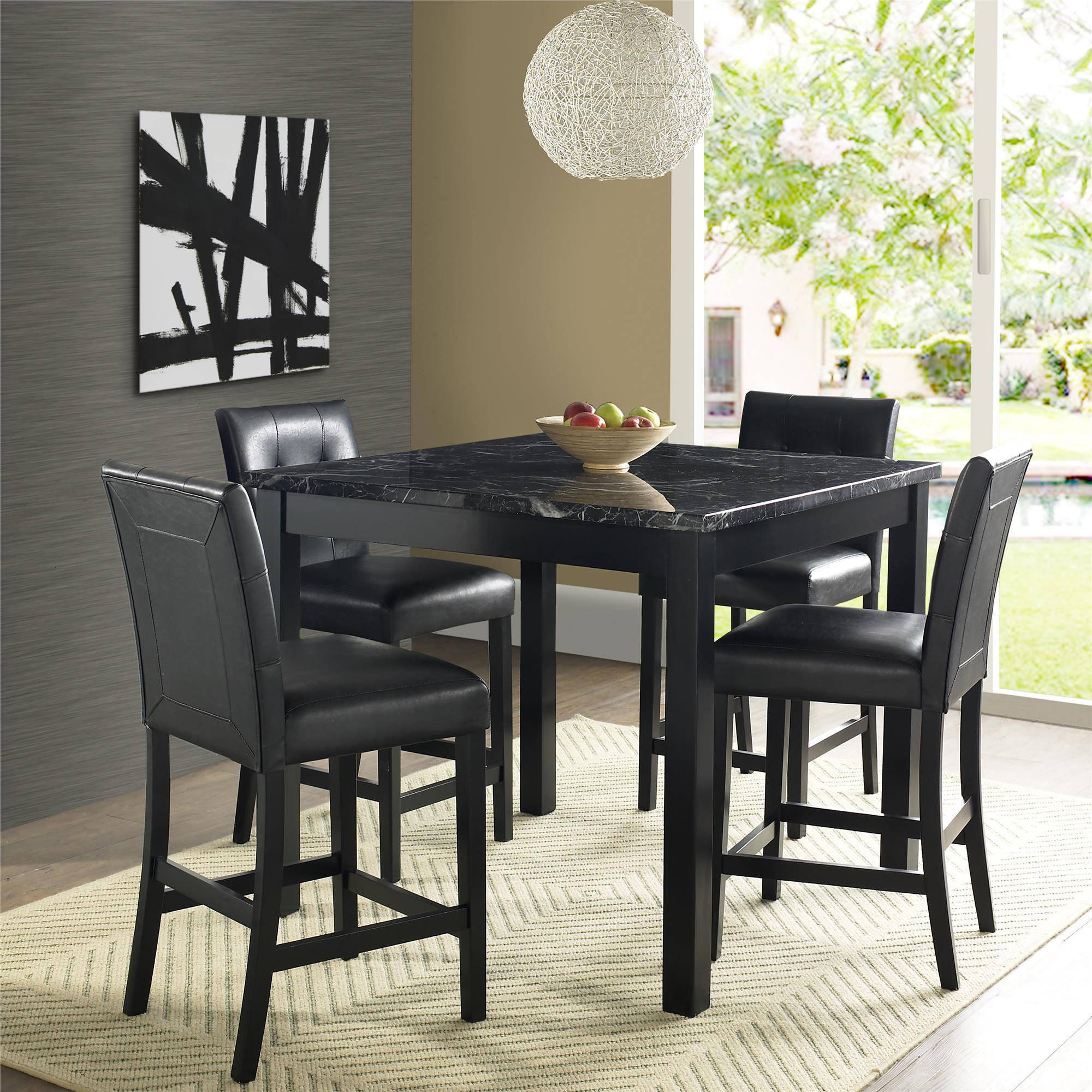 Dorel Living Andover 5-Piece Faux Marble Counter Height Dining Set, Multiple Colors