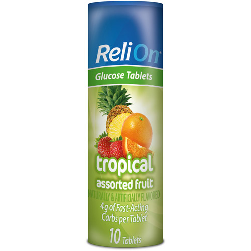 ReliOn Multiflavored Tropical Fruit Glucose Tablets, 10 ct