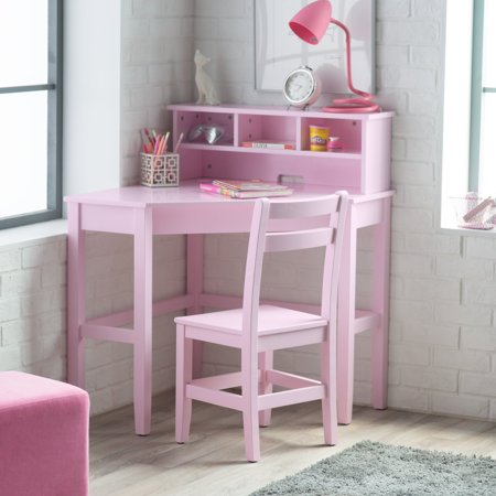 Classic Playtime Juvenile Corner Desk and Reversible Hutch with Chair - Pink ()