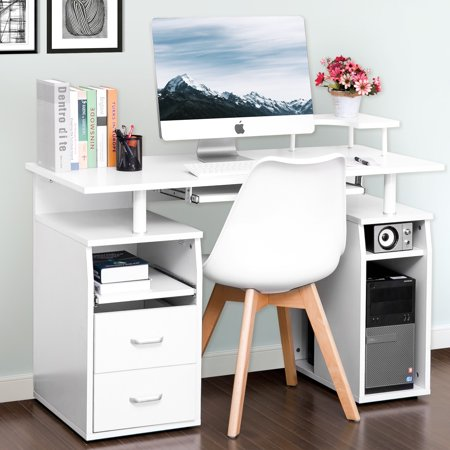 Modernluxe Computer Desk With Keyboard Tray Slide Out Cabinet Two Drawers