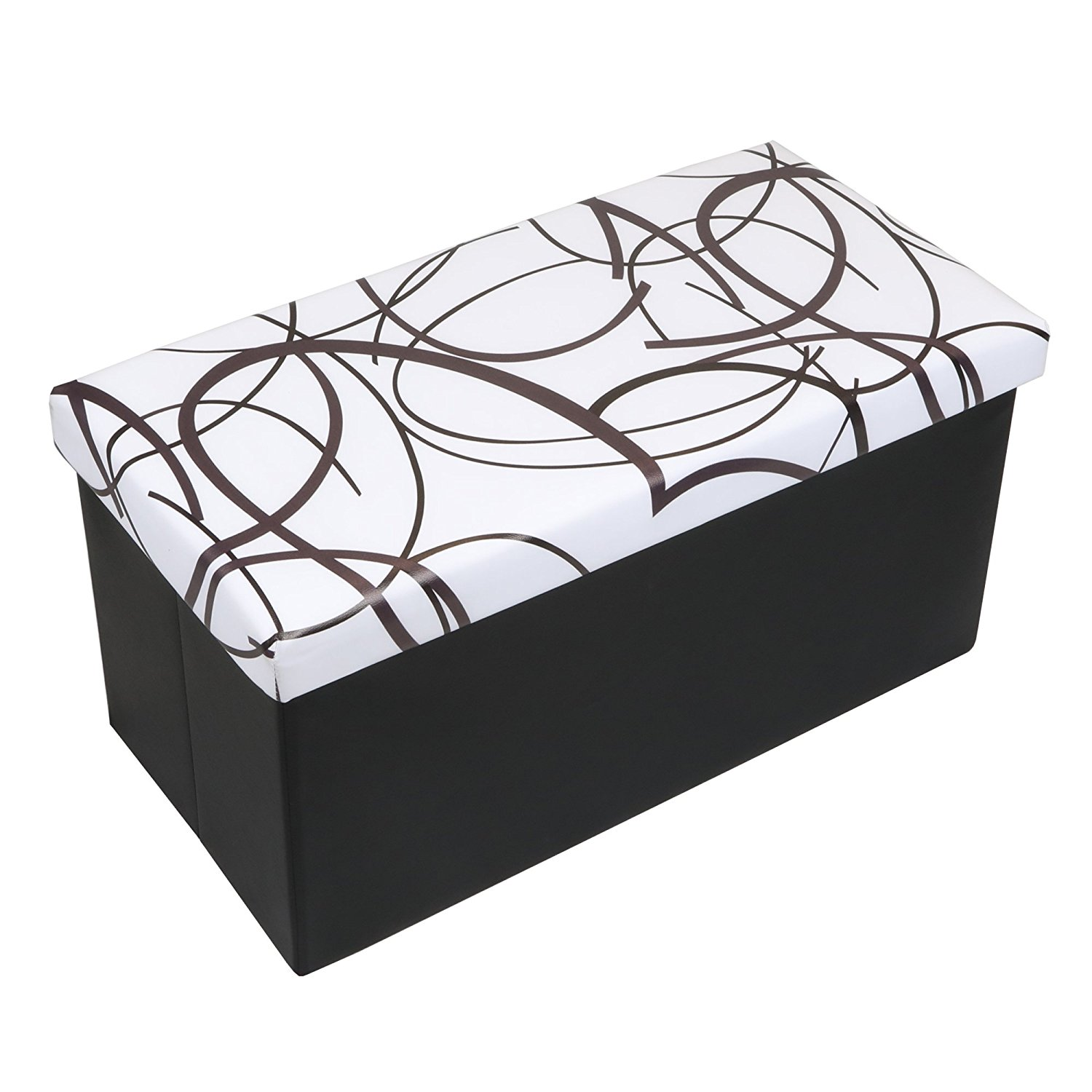 Otto & Ben 30 Inch Swirl Design Ottoman Storage Bench, Multiple Colors